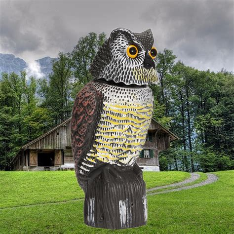 owl in backyard artificial resin owl with rotating head outdoor hunting