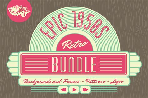 1950s background epic 1950s retro graphics bundle backgrounds and frames o