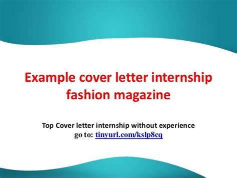 exle cover letter internship fashion magazine