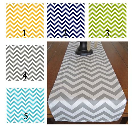 chevron table runner yellow navy green gray aqua