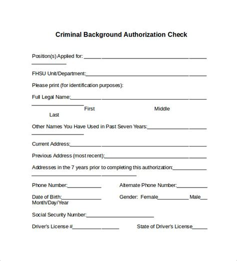 Criminal Background Check Form Background Check Authorization Release Form Images
