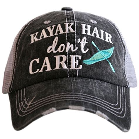 Trucker Hat 3seconds Genuine High Quality katydid kayak hair don t care women s trucker hat gray mint nowarticles store