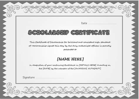 Scholarship Award Certificate Template   Word & Excel
