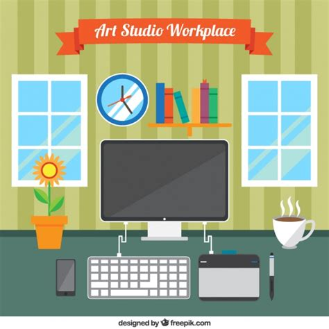 drawing studio free work space studio vector free