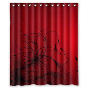 red black abstract wallpaper shower curtain 60 x 72 inch