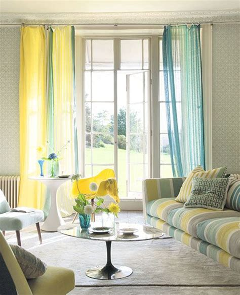 lemon voile curtains teal yellow multicolored sheers eclectic interior