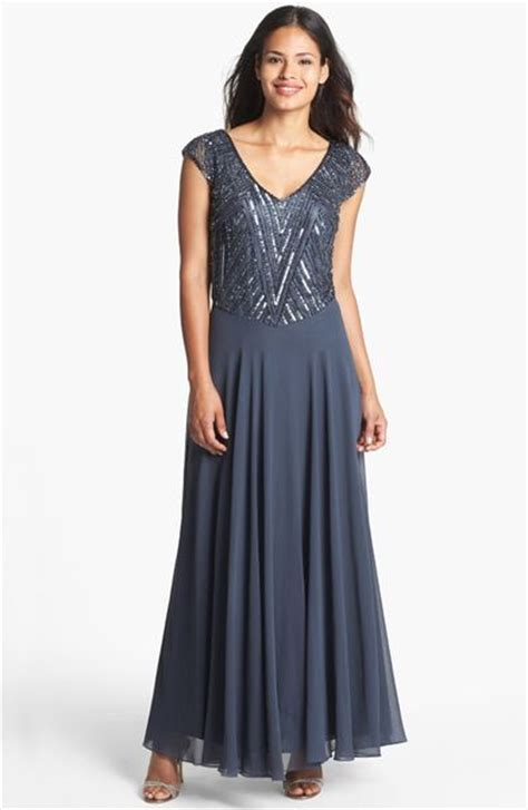 j kara beaded bodice gown j kara beaded bodice mesh gown in gray gray gunmetal lyst