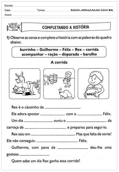 n or m complete atividades de portugu 234 s 2 186 ano completando a hist 243 ria escola educa 231 227 o