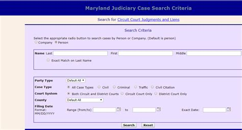 Umd Search Maryland Judiciary Search Lookup Criminal Records Civil Traffic Citation