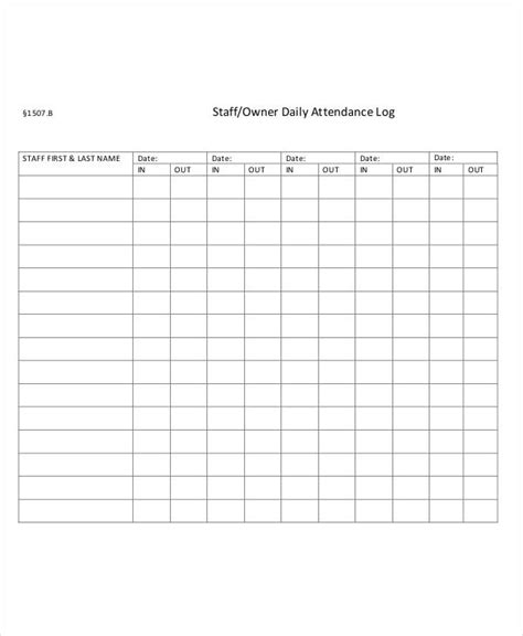 daily attendance record template attendance log templates 9 free pdf documents