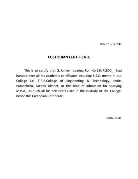 Custodian Certificate Letter custodian certificate