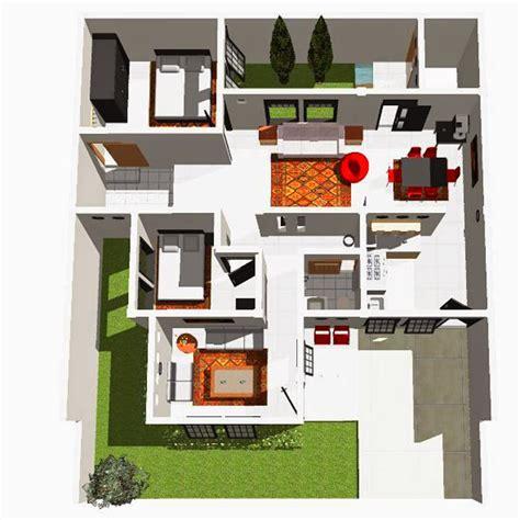 koleksi contoh denah rumah minimalis type 60 1 dan 2 lantai