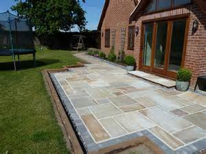 Paving Designs For Patios Gary Cooper Paving Sandstone Patio Edged With Charcoal
