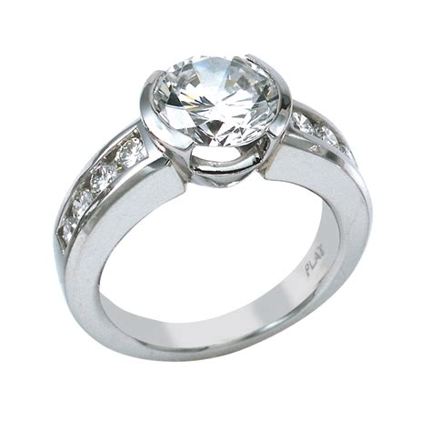 contemporary setting contemporary platinum engagement with round center set in