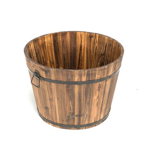 Wood Planter Barrels by 23 In Dia X 17 In H Brown Cedar Wood Large Garden