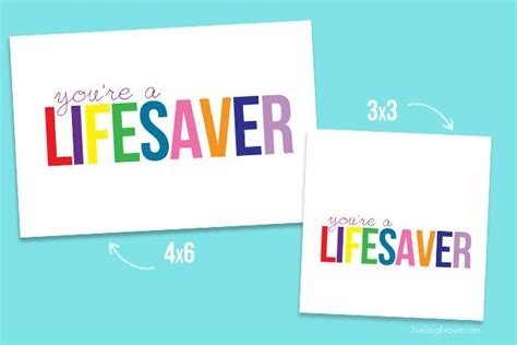 You Re A Lifesaver Printable In Both The 4x6 And 3x3 Save