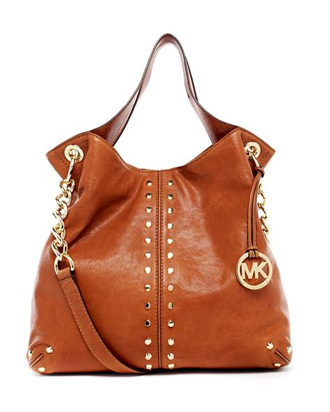 light brown mk purse michael kors uptown astor large shoulder tote in brown lyst