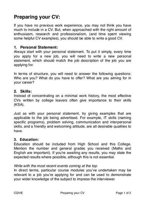 cv template for school leaver with no work experience how to prepare a cv