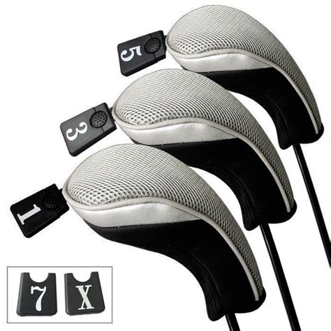 Popok Luris Clb 3pcs 1 3pcs soft 1 3 5 wood golf club driver headcovers covers set gray black in club heads from