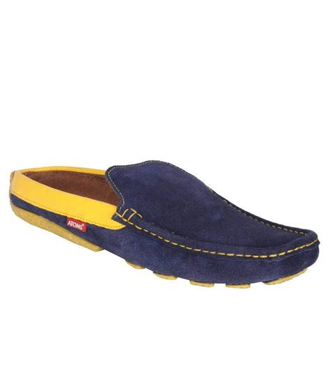 atoms yellow nubuck leather slip on casual shoes price