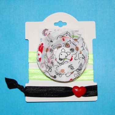 doodle hair ties doodle puppy handmade flower foe elastic headband