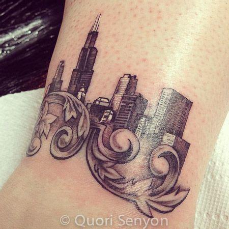 broadway tattoo shop chicago skyline by artist quori senyon booking