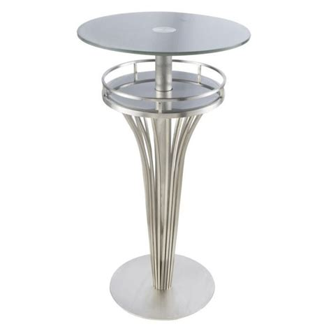 glass top bar armen living yukon glass top round bar table in gray