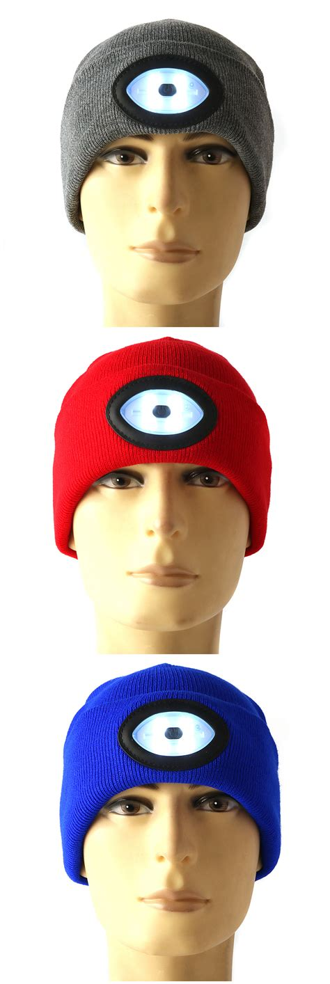 beanie cap with light sports running 6 led beanie knit hat rechargeable cap