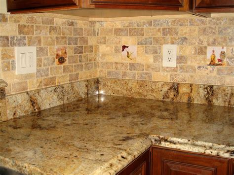 backsplash for kitchen with granite again the subway tile travertine and the same granite and