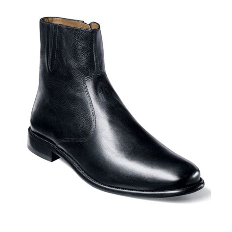 mens demi boots florsheim hugo plain toe demi boots in black for lyst