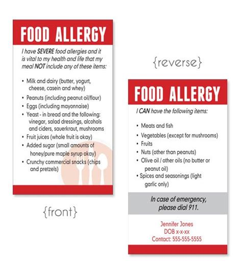 food allergy card template for children allergy cards allergies or