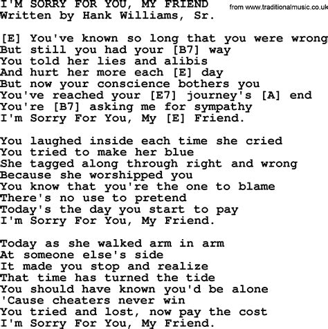 my lyrics williams hank williams song i m sorry for you my friend lyrics