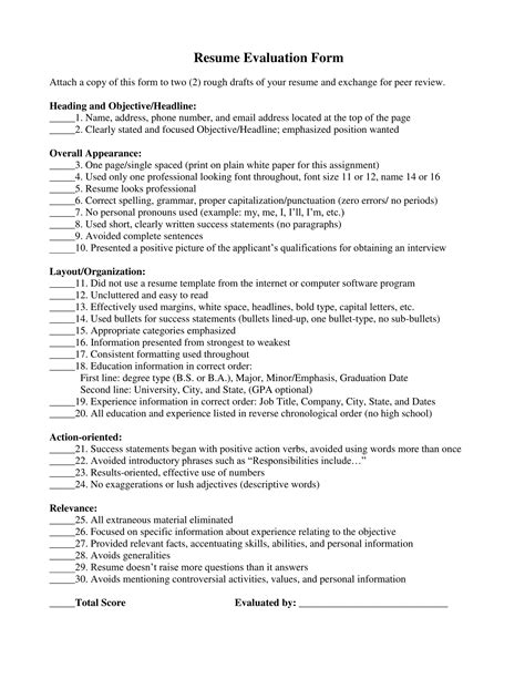 Resume Evaluation by 14 Resume Evaluation Forms Free Word Pdf Format