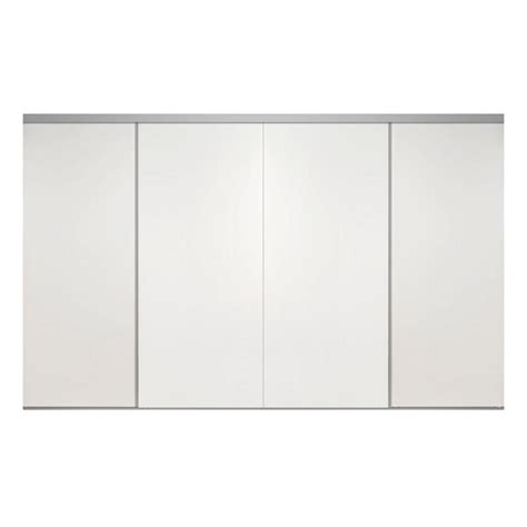 Impact Plus Closet Doors Impact Plus 144 In X 80 In Smooth Flush White Solid Mdf Interior Closet Sliding Door With