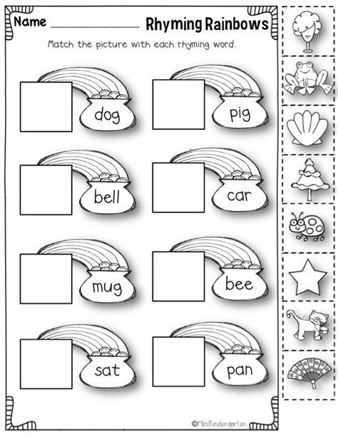 printable preschool rhyming worksheets rhyming words picmia