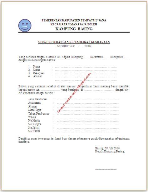 contoh surat keterangan kepemilikan kendaraan