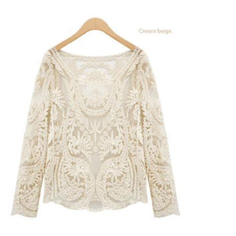 White Sweet Flowery M L Xl Blouse 31693 semi sheer sleeve blouse sweet semi sheer transparent embroidery floral lace