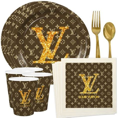 louis vuitton inspired custom plates cups  napkins etsy louis vuitton birthday party