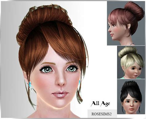 sims 3 free hairstyle downloads top knot with bangs by rose sims sims 3 hairs