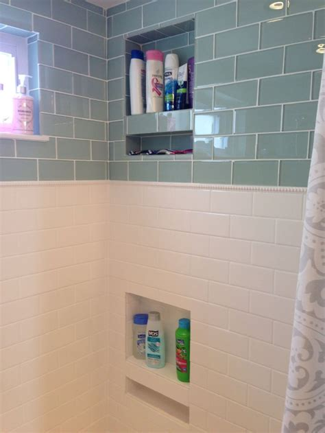 White Bathroom Tile Ideas Pictures shower niche glass subway tile classic dotted pencil