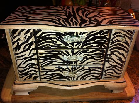 zebra jewelry armoire handpainted zebra print antiqued jewelry box by reimaginations