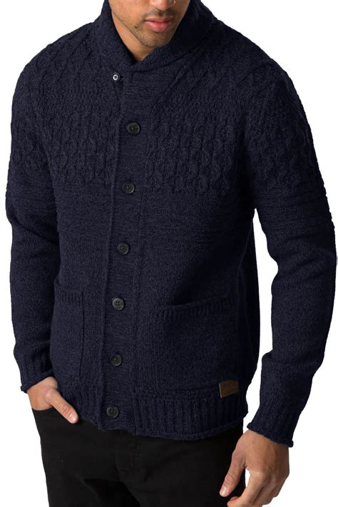 mens chunky knit cardigan threadbare mens knitted cardigan lille button up chunky