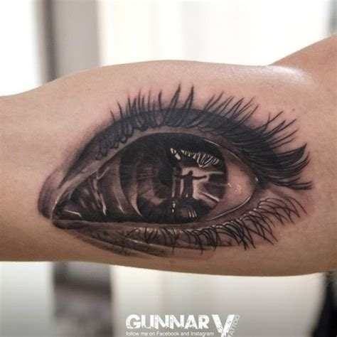 black eye tattoo spectacular black and white human eye on biceps