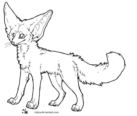 fennec fox lineart 2 by velyra on deviantart