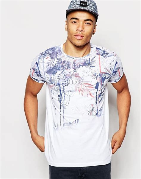 As 1060 Sb Cut asos t shirt with macabre skull floral print and roll sleeves ym s tees roll