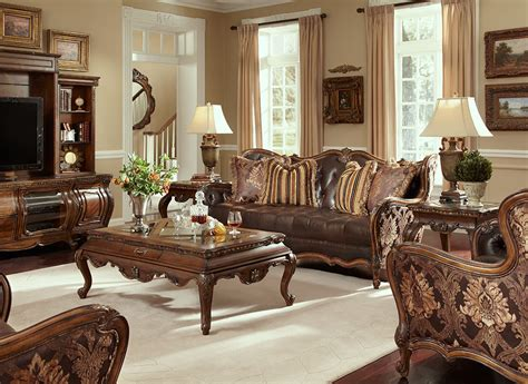 Fabric And Leather Sofa Sets Traditional Leather Sofa Set Melange Traditional Leather Fabric Wood Trim Tufted Sofa Set By