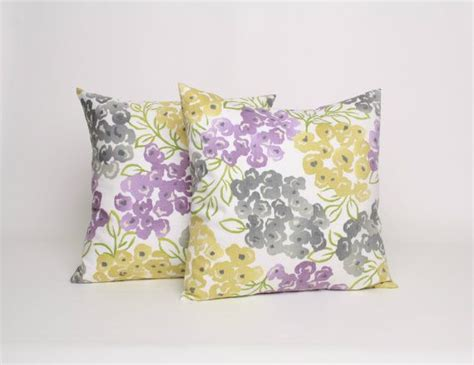 18x18 throw pillow set of 2 gray purple and yellow floral