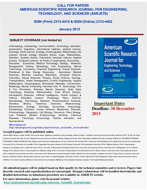 Scientific Research And Essays by Call For Papers 2015 American Scientific Research Journal For Engine