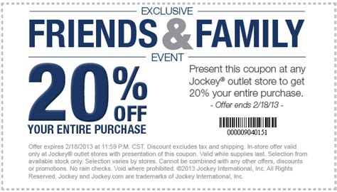 printable outlet mall coupons 20 off at jockey outlet stores free stuff times coupons