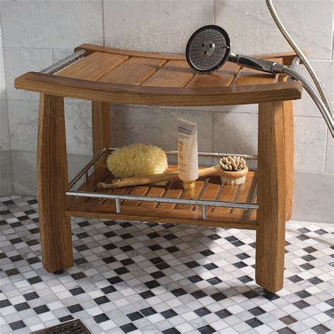 teak shower bench with shelf spa teak shower bench with shelf traditional shower